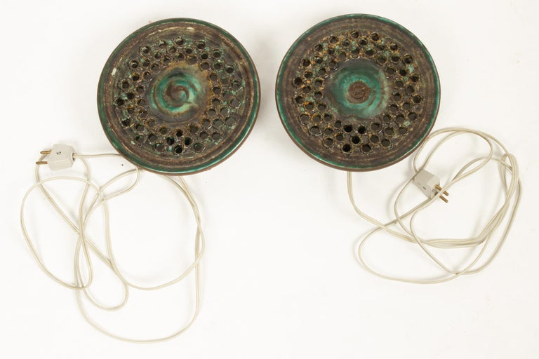 Vintage Danish Ceramic Sconces, 1970s, Set of 2 For Sale 5