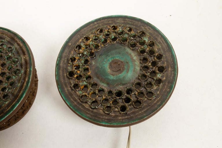 Vintage Danish Ceramic Sconces, 1970s, Set of 2 In Good Condition For Sale In Nibe, Nordjylland