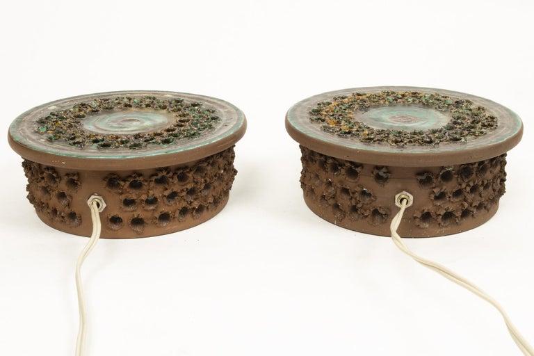 Late 20th Century Vintage Danish Ceramic Sconces, 1970s, Set of 2 For Sale