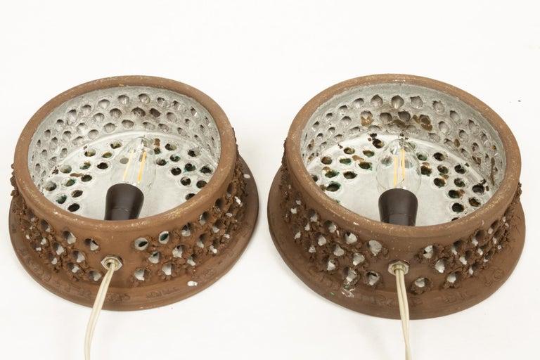 Vintage Danish Ceramic Sconces, 1970s, Set of 2 For Sale 2