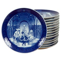 Vintage Danish Christmas Plates, Set of 14