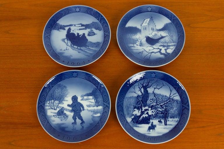 Mid-20th Century Vintage Danish Christmas Plates, Set of 16 For Sale