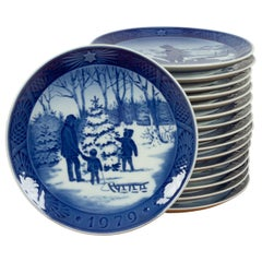 Vintage Danish Christmas Plates, Set of 16