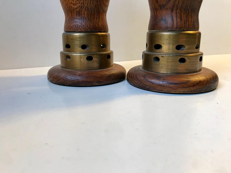 Mid-Century Modern Vintage Danish Church Candleholders in Oak and Bronze, 1950s, Set of 2 For Sale