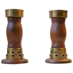 Vintage Danish Church Candleholders in Oak and Bronze, 1950s, Set of 2