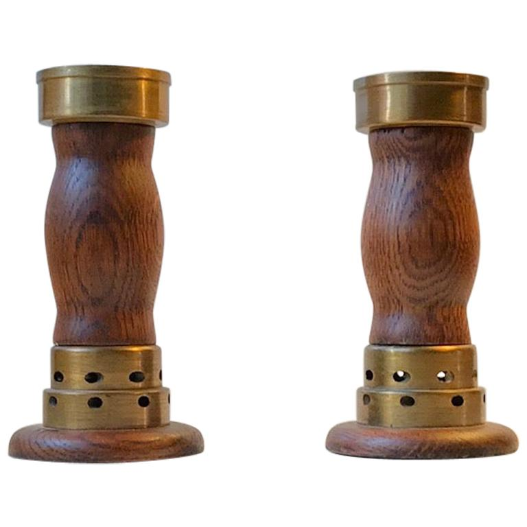 Vintage Danish Church Candleholders in Oak and Bronze, 1950s, Set of 2 For Sale