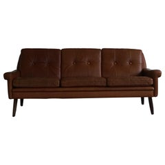 Vintage Danish Cognac Leather 3-Seat Sofa by Svend Skipper for Skipper, 1960s