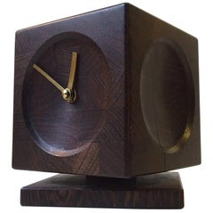 Vintage Danish Cube Table Clock in Wenge Wood, 1960s