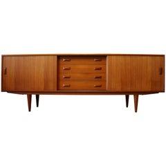 Vintage Danish Design Credenza / Sideboard by Clausen & Son 1950s Teak Brown