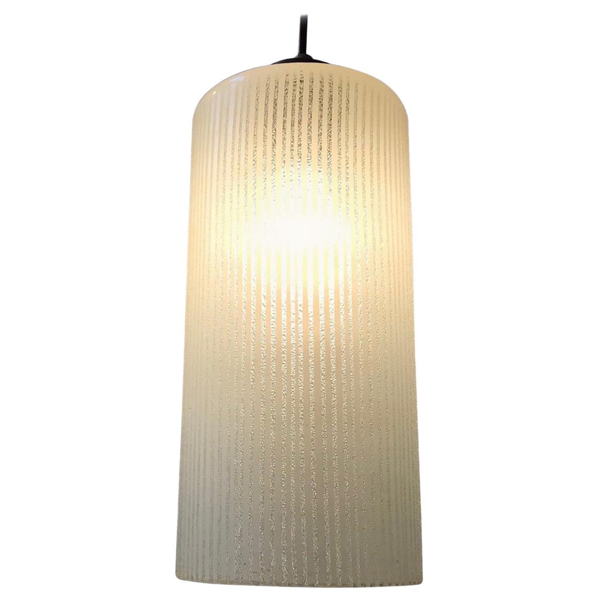Vintage Danish Functionalist Pendant Lamp in Pinstriped Glass from Voss, 1950s