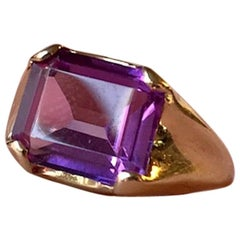 Vintage Danish Gold Ring with Pink Sapphire by Hermann Siersbol