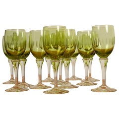 Vintage Danish Green Wine Glasses Leonora 1960s Set of 12