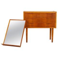 Vintage Danish Hallway Mirror and Dresser Set, 1960s