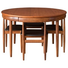 Vintage Danish Hans Olsen Teak Round Dining Table and Chair Set