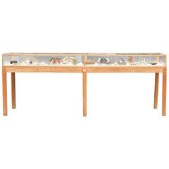 Vintage Danish Large Oak Museum Cabinet
