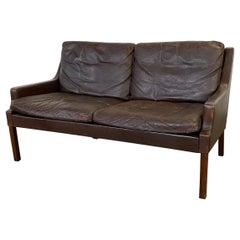 Vintage Danish Leather Loveseat Sofa by Georg Thams for Vejen Møbelfabrik