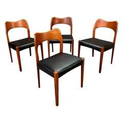 Vintage Danish Midcentury Arne Hovmand Olsen Teak Dining Chairs- Set of 4