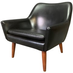 Vintage Danish Mid-Century Modern Leather and Teak Lounge Chair