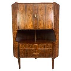 Vintage Danish Mid-Century Modern Rosewood Bar Corner Cabinet