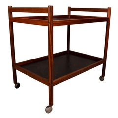 Vintage Danish Mid-Century Modern Rosewood Cocktail Bar Cart