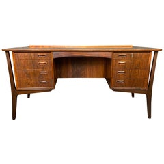 Vintage Danish Mid-Century Modern Rosewood Desk by Svend Madsen for Hp Hansen