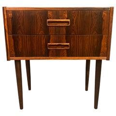 Vintage Danish Mid-Century Modern Rosewood Nightstand, Entry Chest