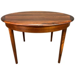 Vintage Danish Mid-Century Modern Rosewood Round Dining Table with Leaves