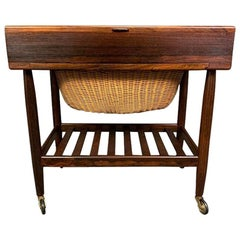 Vintage Danish Mid-Century Modern Rosewood Sewing Cart by Ejvind Johansson