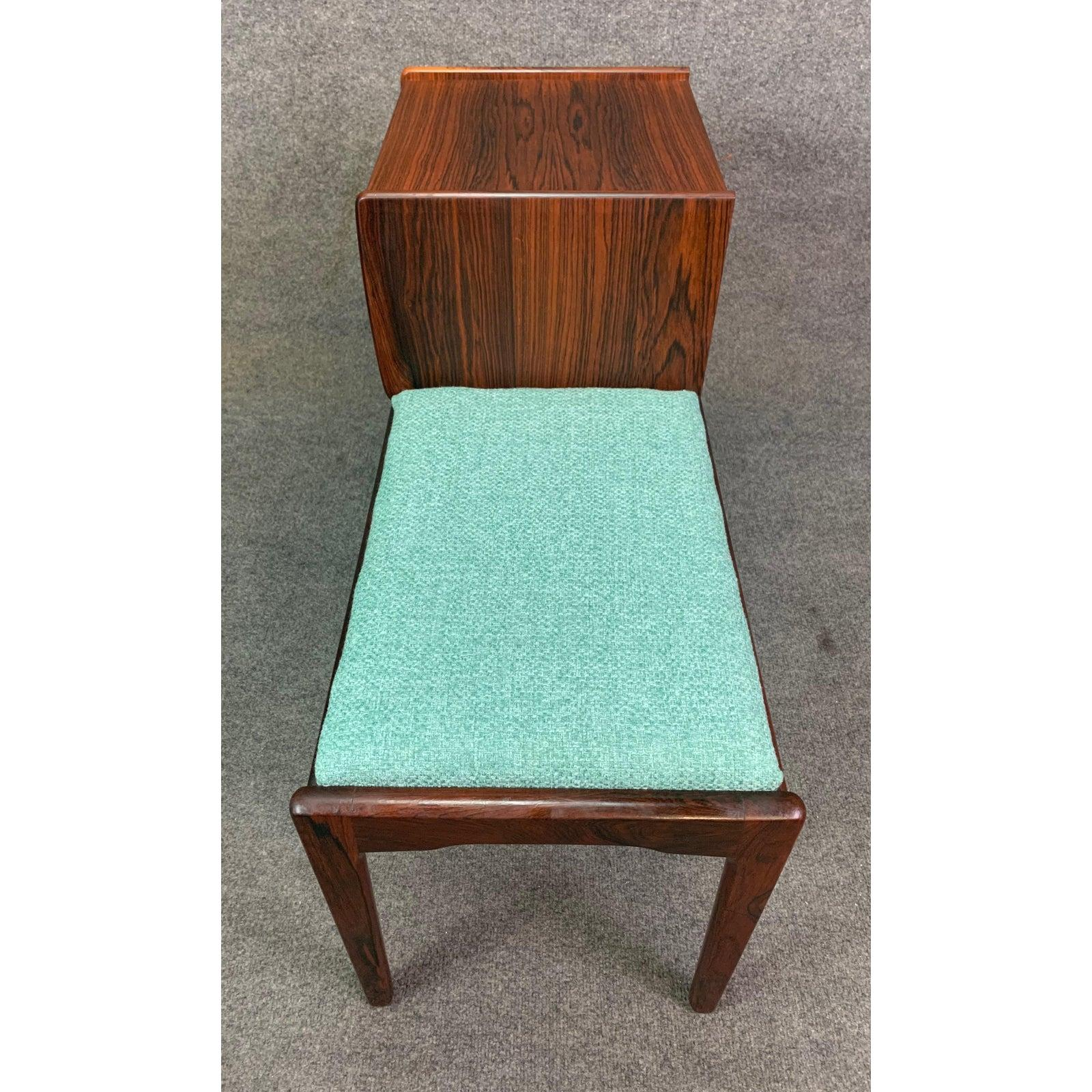 Vintage Danish Mid Century Modern Rosewood Telephone Bench Entry Way Console For Sale At 1stdibs
