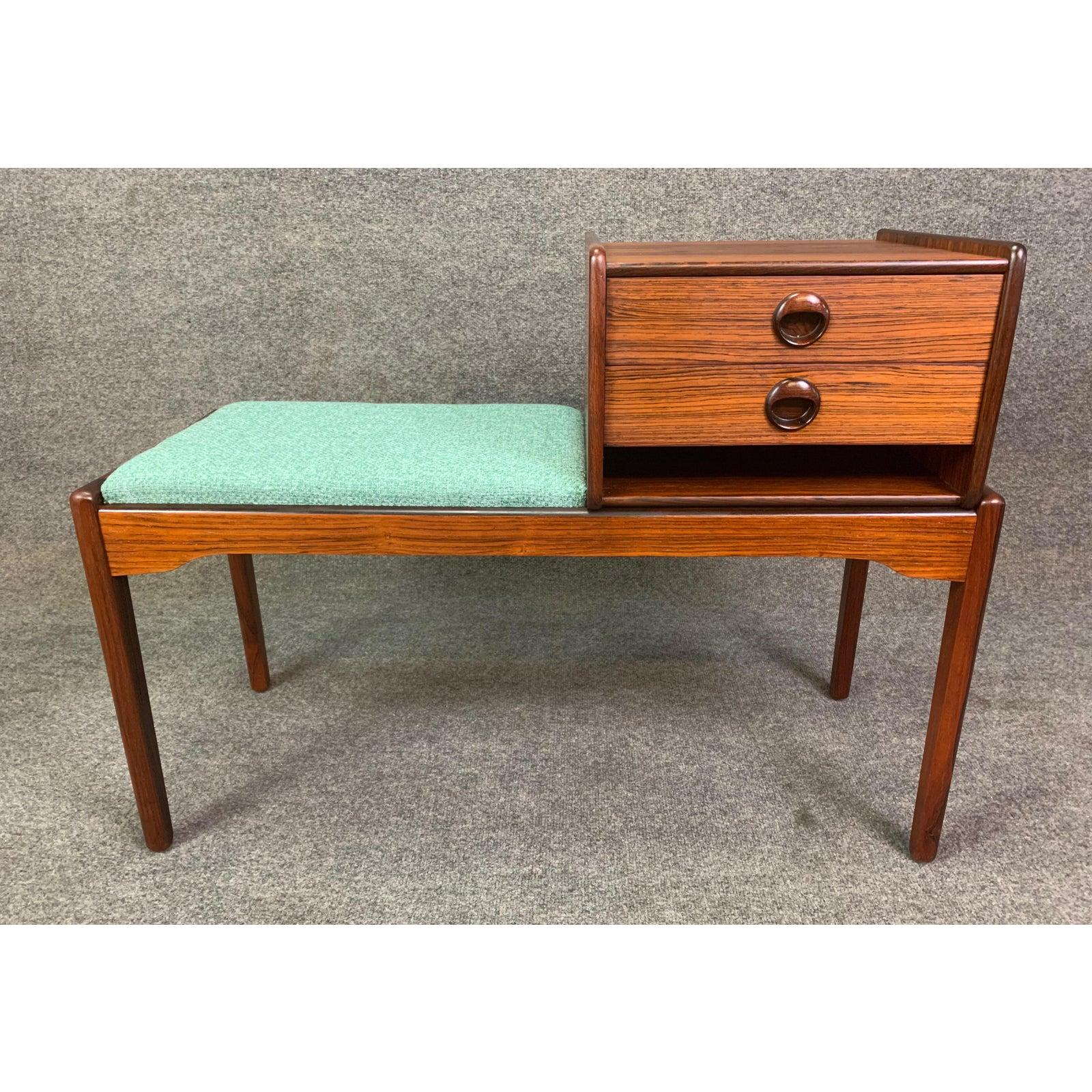 Image of: Vintage Danish Mid Century Modern Rosewood Telephone Bench Entry Way Console For Sale At 1stdibs