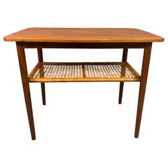 Vintage Danish Mid-Century Modern Teak and Cane End Table