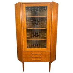 Vintage Danish Mid-Century Modern Teak and Glass Corner Cabinet