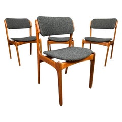 "Vintage Danish Mid-Century Modern Teak Chairs ""Model 49"" by Erik Buch, Set of 4"