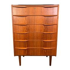 Vintage Danish Mid-Century Modern Teak Gentleman's Chest Dresser
