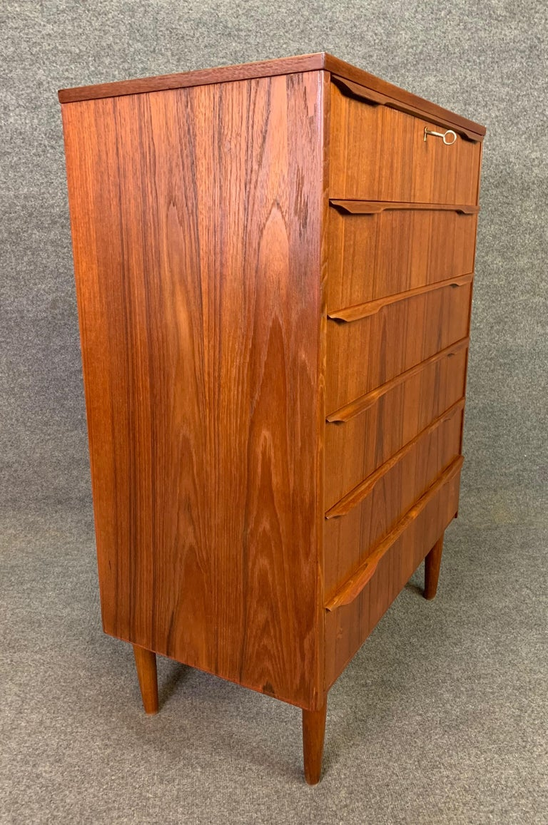 Woodwork Vintage Danish Mid-Century Modern Teak Highboy Dresser