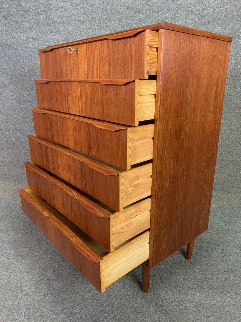 Vintage Danish Mid-Century Modern Teak Highboy Dresser 3