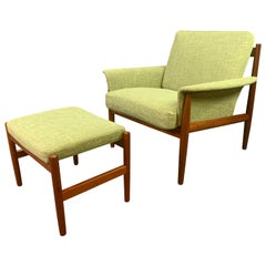 Vintage Danish Mid-Century Modern Teak Lounge Chair and Ottoman by Grete Jalk