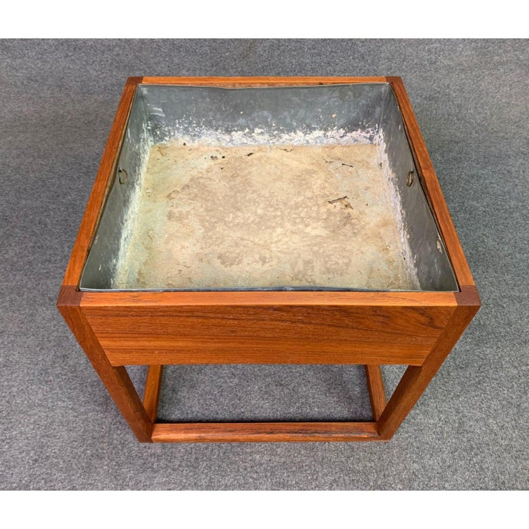 Woodwork Vintage Danish Mid-Century Modern Teak Planter For Sale