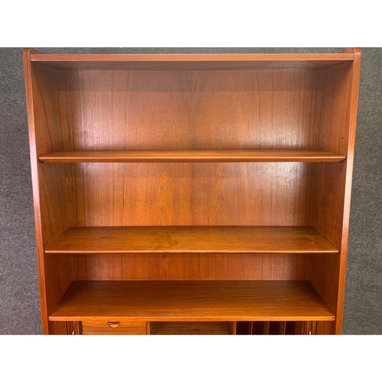 Mid-20th Century Vintage Danish Mid-Century Modern Teak Secretary Bookcase by Johannes Sorth #1 For Sale