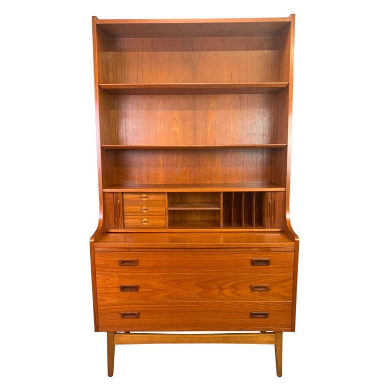 Vintage Danish Mid-Century Modern Teak Secretary Bookcase by Johannes Sorth #1 For Sale 3