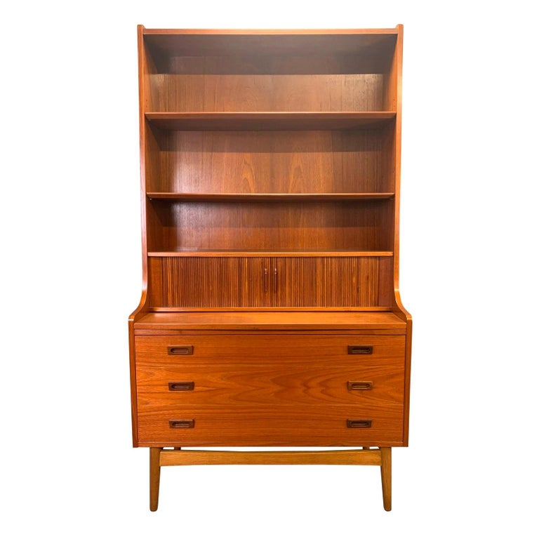 Vintage Danish Mid-Century Modern Teak Secretary Bookcase by Johannes Sorth #1 For Sale