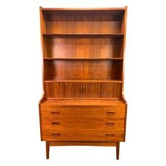 Vintage Danish Mid-Century Modern Teak Secretary Bookcase by Johannes Sorth #2