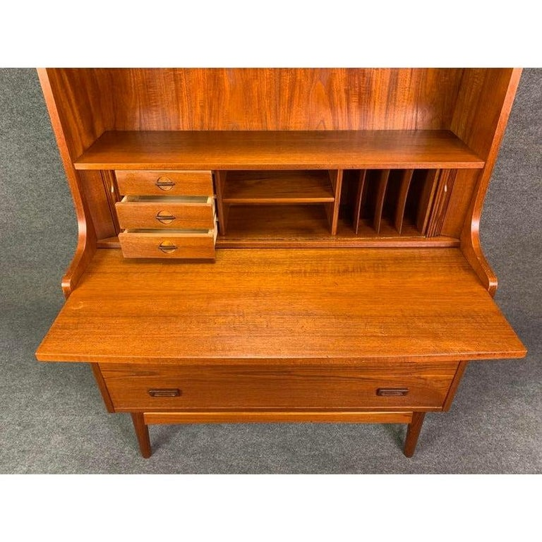 Mid-20th Century Vintage Danish Mid-Century Modern Teak Secretary Bookcase by Johannes Sorth For Sale