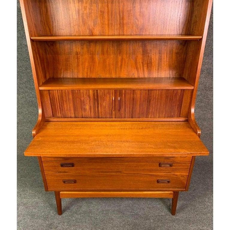 Vintage Danish Mid-Century Modern Teak Secretary Bookcase by Johannes Sorth For Sale 1