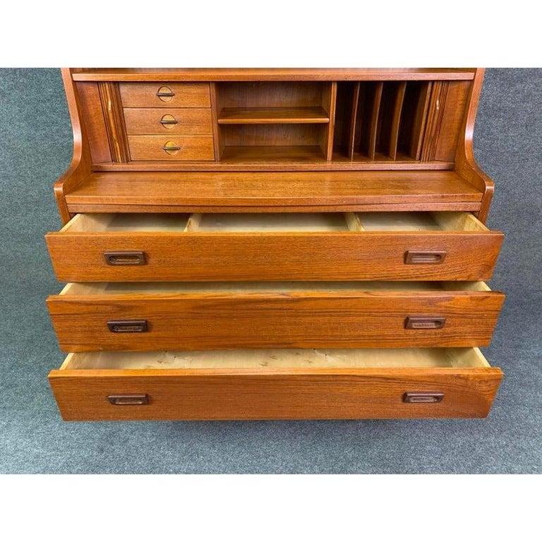 Vintage Danish Mid-Century Modern Teak Secretary Bookcase by Johannes Sorth For Sale 2