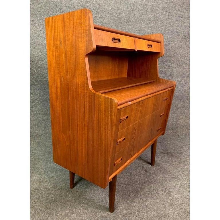 Vintage Danish Mid-Century Modern Teak Secretary Desk For Sale 4