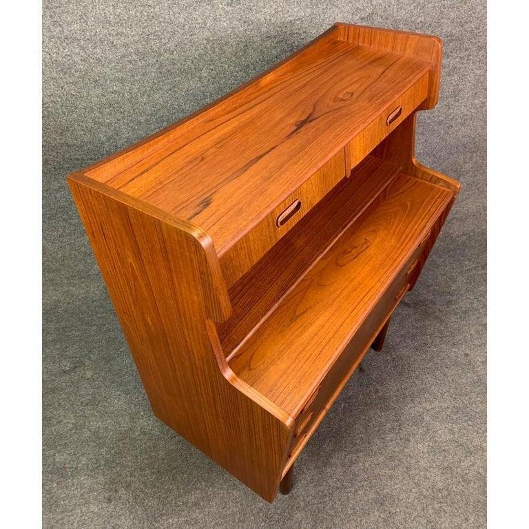 Woodwork Vintage Danish Mid-Century Modern Teak Secretary Desk For Sale