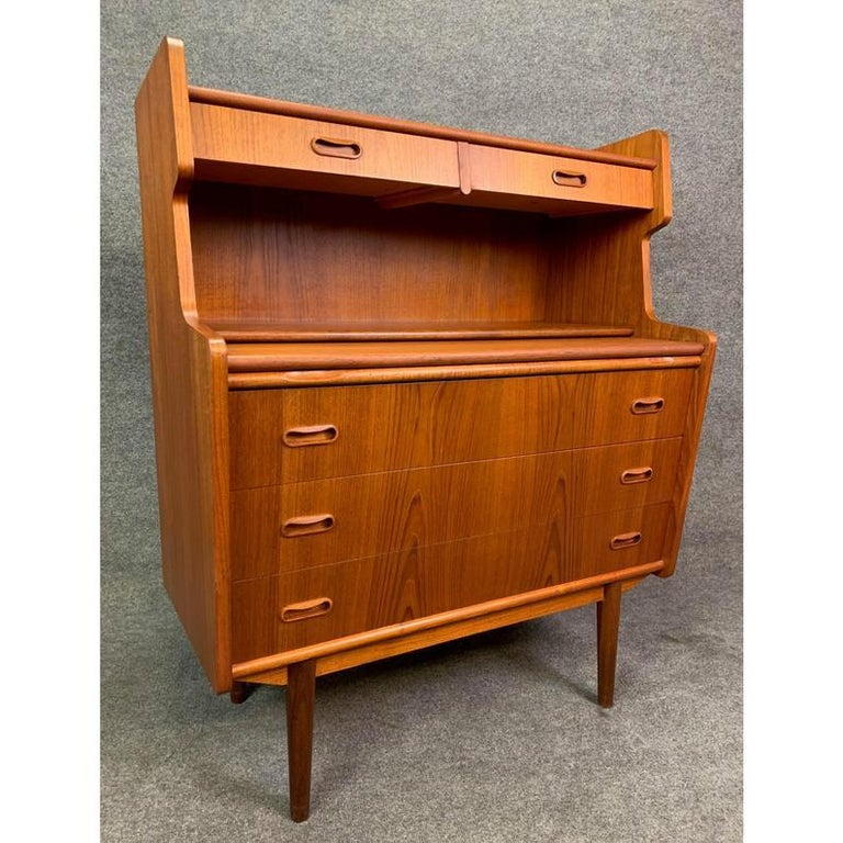 Vintage Danish Mid-Century Modern Teak Secretary Desk In Good Condition For Sale In San Marcos, CA