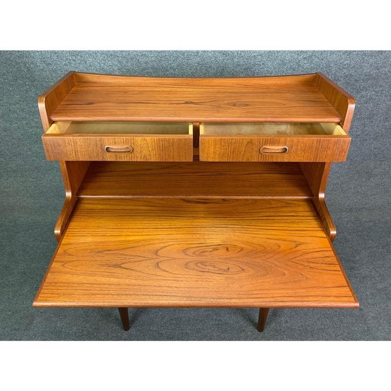 Vintage Danish Mid-Century Modern Teak Secretary Desk For Sale 1