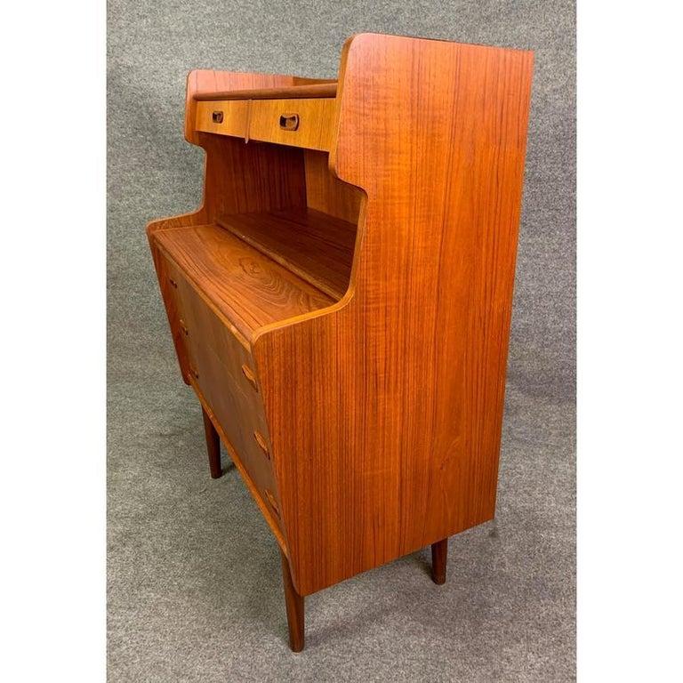 Vintage Danish Mid-Century Modern Teak Secretary Desk For Sale 2